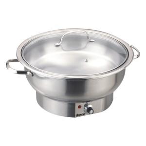 Chafing Dish elektrický, kulatý se skleněnou poklicí - 3,8 litru